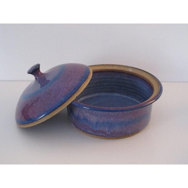 Blue & Purple Pottery Casserole Dish - Image 4 of 6