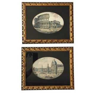 Vintage Italian Ruins Prints in Gilt Frames - A Pair
