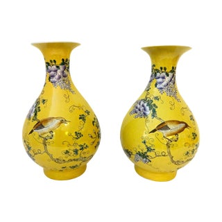 Yellow Famille Jaune Vases- A Pair