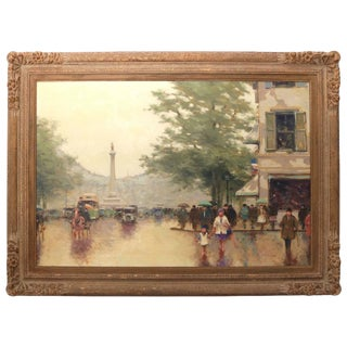 "Mid-Century, Romantic Style ""Parisian Street Scene"" Oil on Canvas"