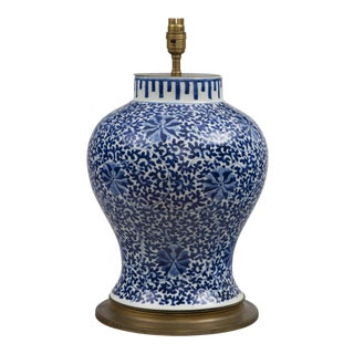 Chinese Blue & White Porcelain Vase Lamp, Circa 1880