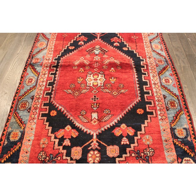 "Vintage Red & Blue Persian Rug - 3'7"" X 6'3"" - Image 4 of 4"