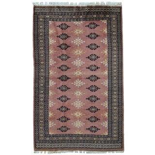 1960s handmade vintage Uzbek Bukhara rug 3.1' x 5'