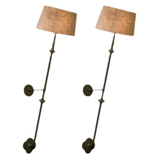 Pair of French Tall Twisted Bronze Wall Sconces with Linen Shades, circa 1880