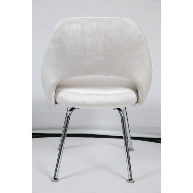 Image of Saarinen Executive Armless Chair in Ivory Velvet