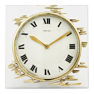 GOLD AND CRYSTAL CARTIER DESK CLOCK