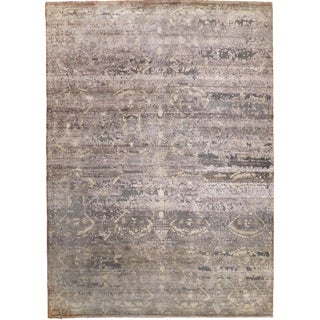 Hand Knotted Indian Wool & Silk Rug - 8′9″ × 12′