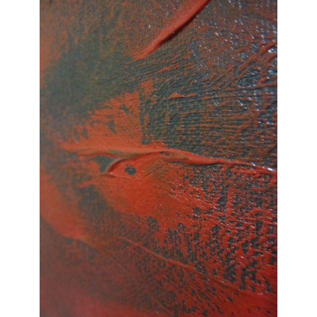 Feathery Red Abstract Painting - Image 6 of 7