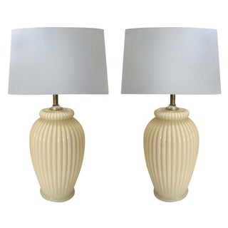 Urn Form Ribbed Glass Table Lamps - A Pair