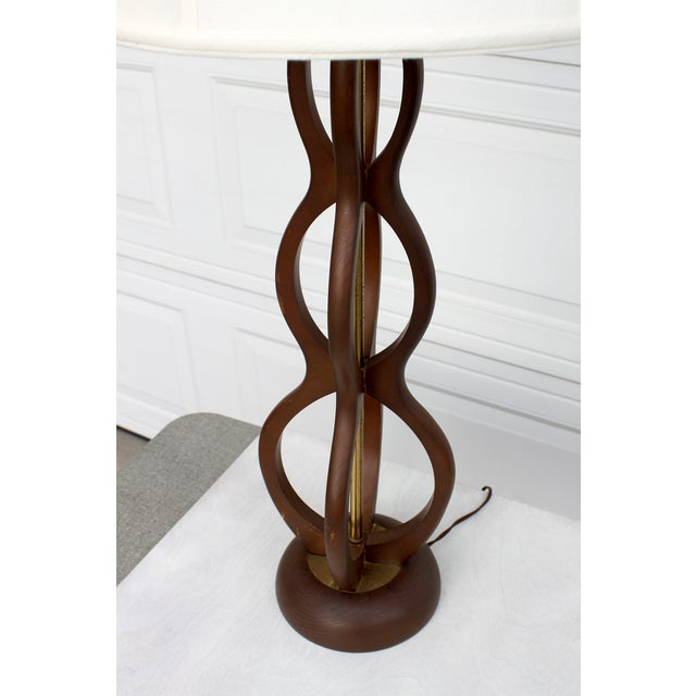Mid Century Modern Wooden Sculptural Table Lamp - Image 4 of 7