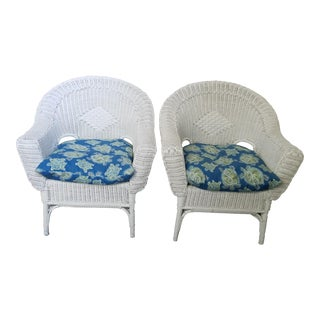 Antique White Wicker Arm Chairs - a Pair