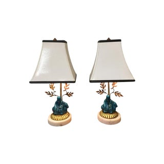 French Vintage Turquoise Porcelain Lamps - A Pair