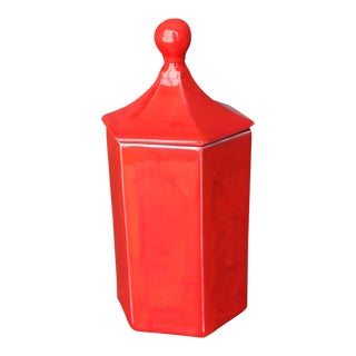 Vintage Red Ceramic Canister