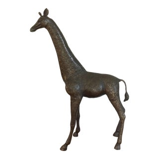Giraffe Figurine Sculpture in Bronzed Cast Metal