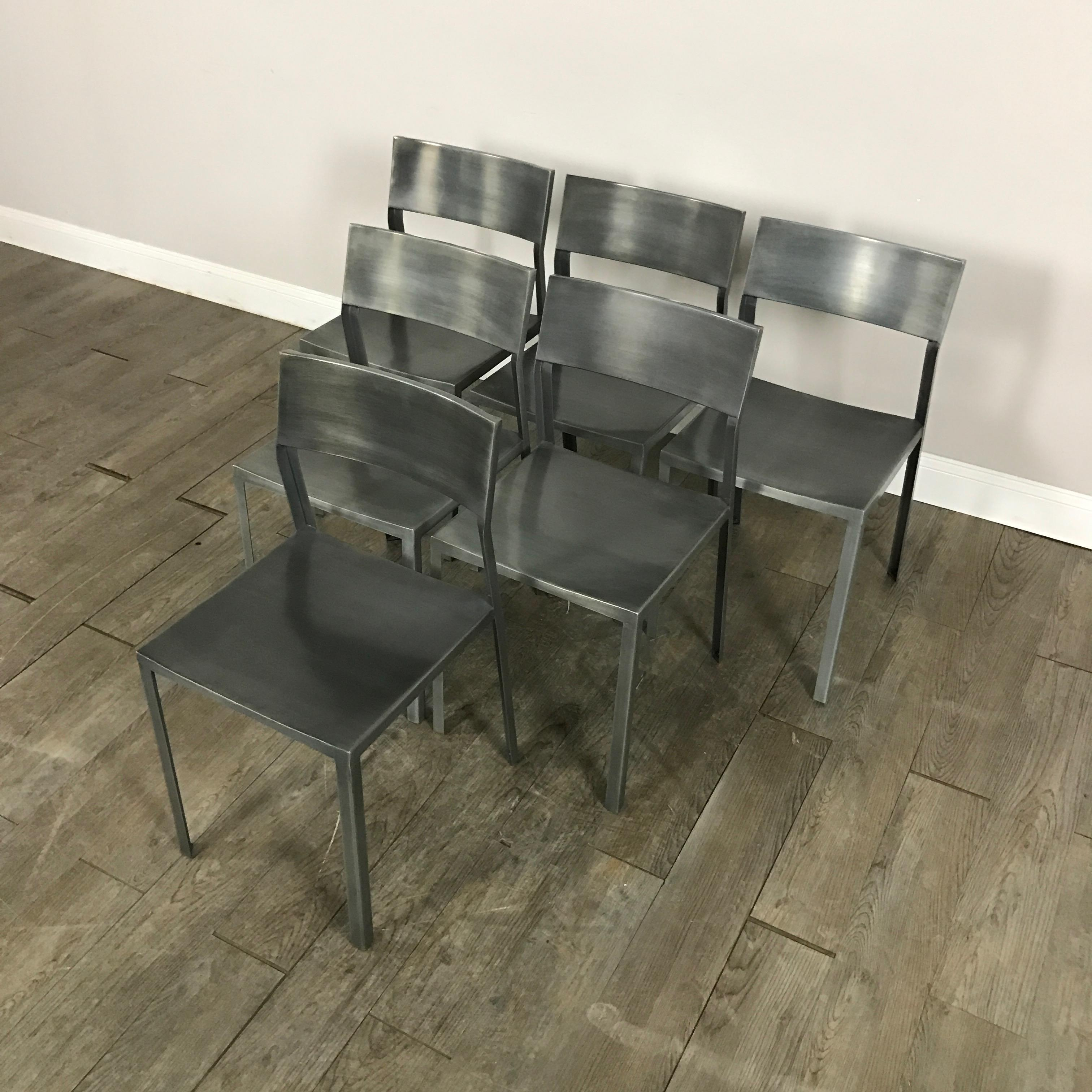 CB2 Brushed Steel Dining Chairs Set of 6