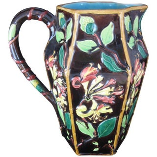 English Majolica Honeysuckle Vine Pitcher