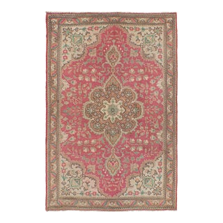 Vintage Persian Pink & Turquoise Rug - 3′4″ × 4′1″
