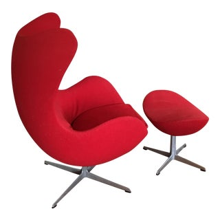 Arne Jacobsen Cherry Red Egg Chair and Ottoman, 1958