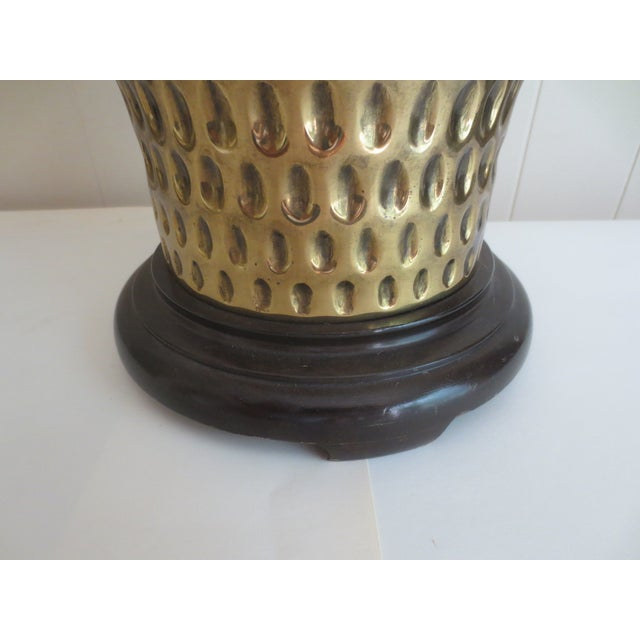 Large Brass Table Lamp With Thumbprint Design - Image 4 of 5