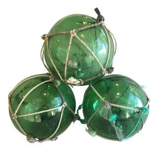 Nautical Green Glass Fishing Floats - Set of 3