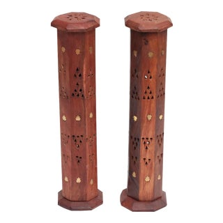 Octagonal Tower Incense Burners with Brass Inlay, A Pair