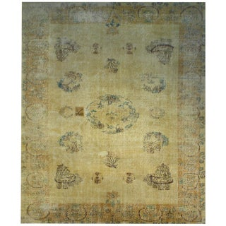 Vintage Turkish Distressed Hand Knotted Rug - 6′8″ × 9′7″