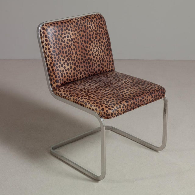 Set of Six Chromium Steel-Framed Cantilevered Dining Chairs, 1960s - Image 3 of 5