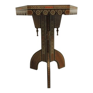 Vintage Inlaid Egyptian side table with tripod base