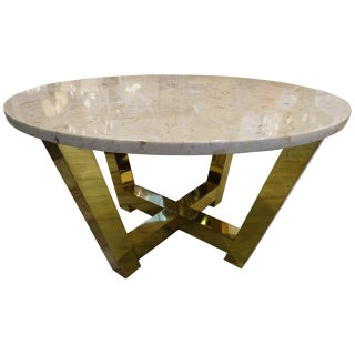 Mid-Century Brass and Travertine Coffee Table