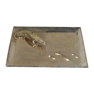 Silver Plated Alligator and Fish Tray