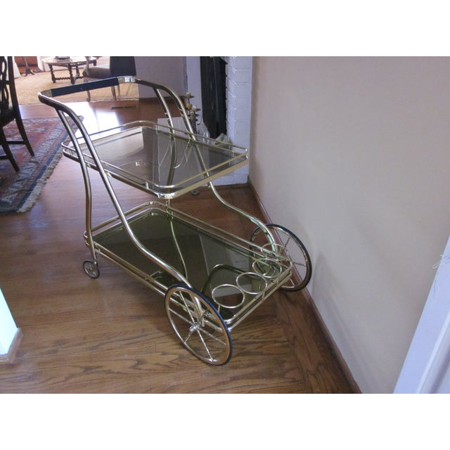 Vintage Italian Polished Brass Trolley Bar Cart - Image 4 of 5