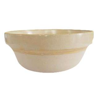 Antique White Stoneware Earthenware Farmhouse Round Bowl