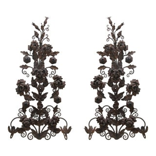 Rustic Hand-Forged Iron Candle Sconces - a Pair