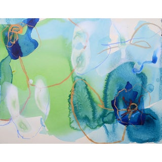 "Liz Barber Leventhal ""Anemone 11"" Mixed Media Painting"