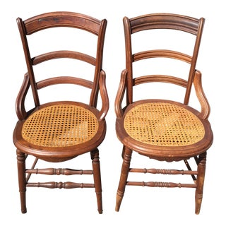 Antique Caned Dining Chairs - A Pair