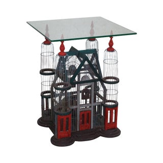 Victorian Style Bird Cage Glass Top Side Table