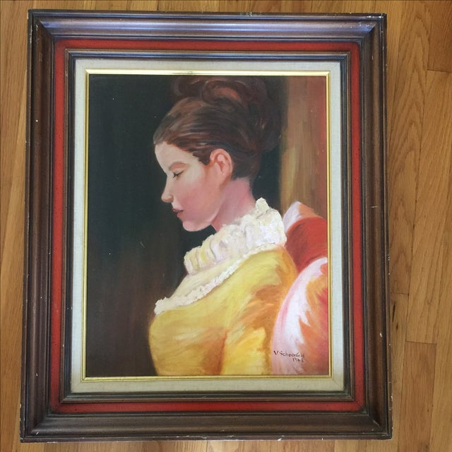 Image of 1968 Mid Century Framed Portrait