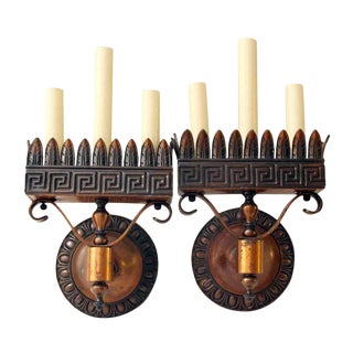Cast Bronze Neoclassical Sconces - A Pair