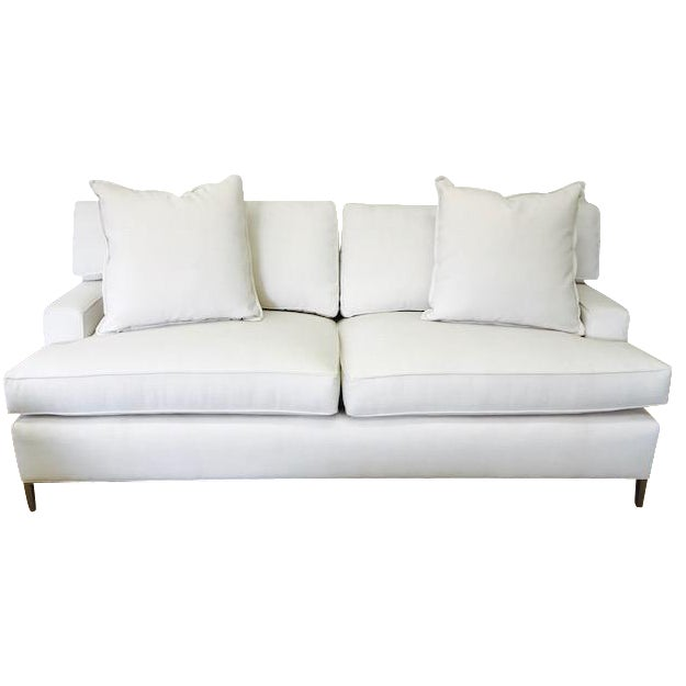 """Ivory Crypton Home Upholstered """"Tribeca Sofa"""" With Brass Legs - Image 1 of 4"""
