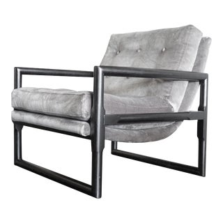 Milo Baughman Grey Mohair Scoop Cube Lounge Chair