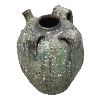 19th Century Textured Green Jug with Handles and Spout, France