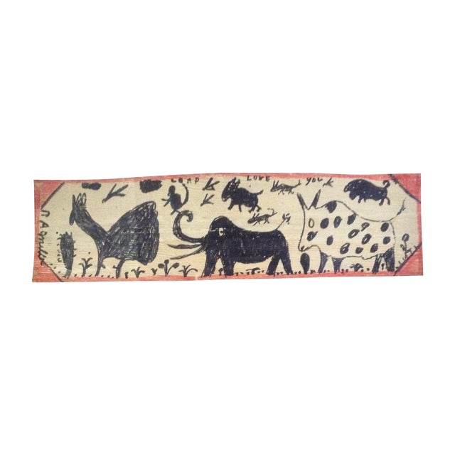 Vintage Folk Art Primitive Native Painting - Image 1 of 9