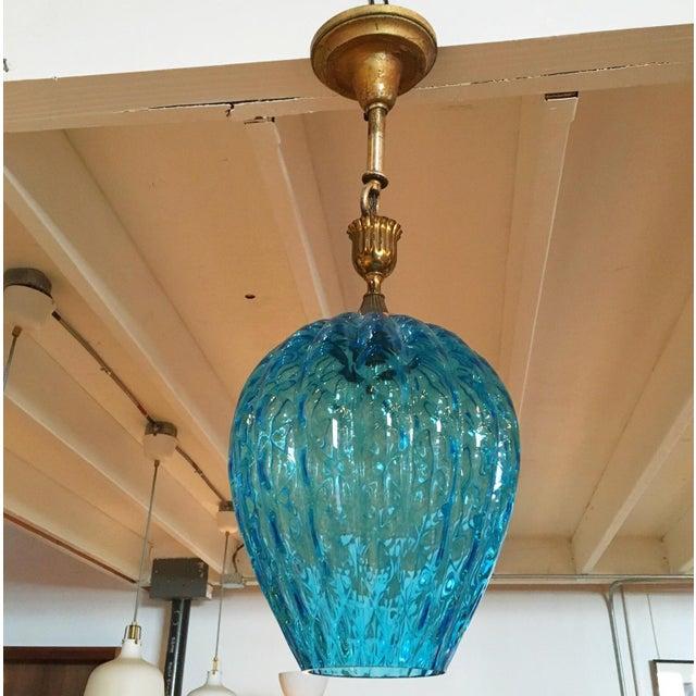 Image of Vintage Blue Murano Glass Light Pendant