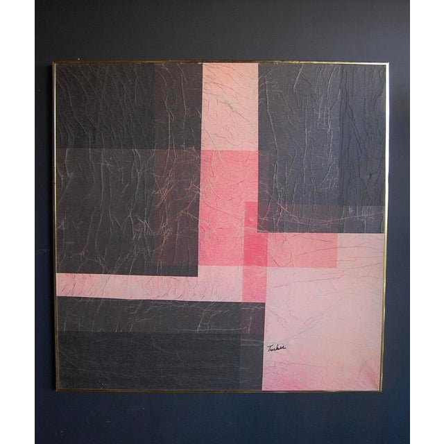 Modernist Pink & Black Mixed Media Painting - Image 5 of 8