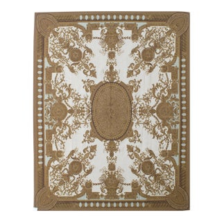 French Aubusson Design Hand Woven Gold & Ivory Wool Rug - 9' X 12'