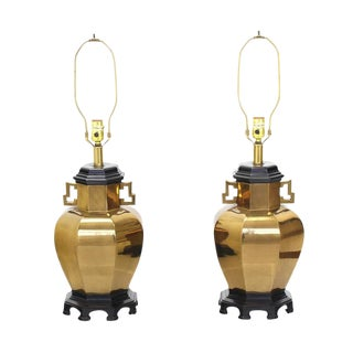 Pair of Brass Hexagon Shape Table Lamps