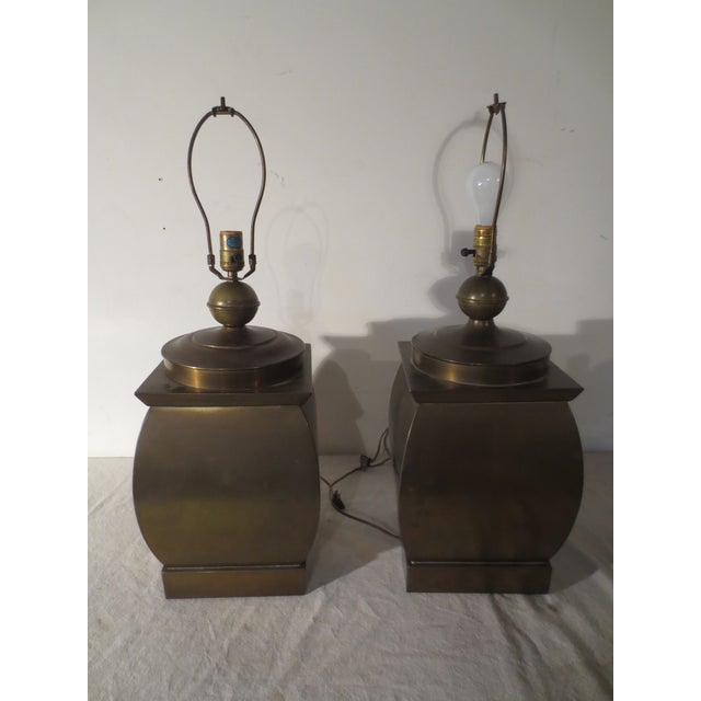 Vintage 60s Pair of Brass Table Lamps - Image 2 of 6