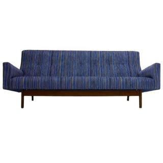 Sleek Jens Risom High Back Sculptural Sofa in Stunning New Upholstery