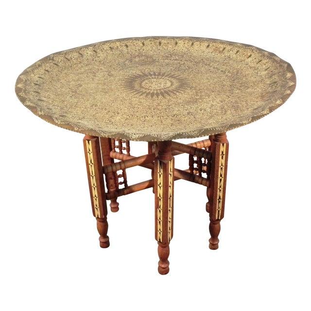 Inlaid Turkish Tea Side Table - Image 1 of 7