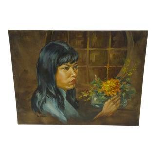Circa 1969 Painting Doris Tai Portrait by Tom Sturges Painting